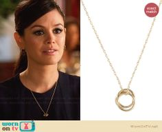 Zoe's gold circle necklace on Hart of Dixie.  Outfit Details: http://wornontv.net/30958/ #HartofDixie