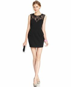 Bar III Dress, Sleeveless High-Neck Lace Shift - Dresses - Women - Macy's