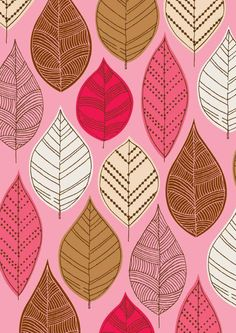 Autumn Leaves Pink by EloiseRenouf , limited edition giclee print. $25.00, via Etsy.