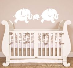 Elephants wall decal set of 3. $35.00, via Etsy.