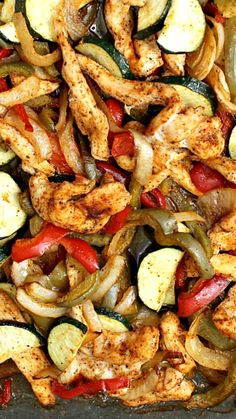 Quick & easy Baked Chicken Fajitas Recipe The easiest way to make these, now why didn't I think of it sooner!