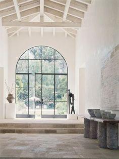 black framed windows, white, ceiling, floors