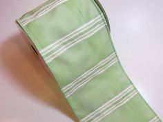 Green Ribbon, Design Studio Felicia Wired Fabric Ribbon 4 inches wide x 10 yards, Full Bolt of Green Striped Ribbon by GriffithGardens on Etsy