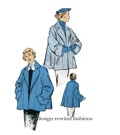 50s COAT PATTERN JACKET Pattern Loose Swing Coat Raglan Sleeves New York Pattern 1119 UNCuT 50s Vintage UNCuT Womens Sewing Patterns Bust 36 by DesignRewindFashions on Etsy