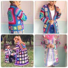Crochet Granny Square Jacket C Crochet Poncho Patterns, Crochet Square Patterns, Crochet Coat, Crochet Jacket, Knitted Coat, Crochet Cardigan, Crochet Granny, Cute Crochet, Beautiful Crochet