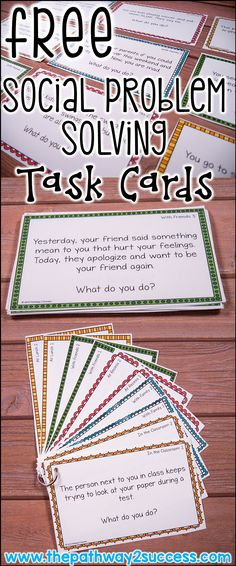 Social Problem-Solving with a Free Activity FREE social problem solving task cards and ideas for how to teach social problem solving!FREE social problem solving task cards and ideas for how to teach social problem solving! Social Skills Activities, Teaching Social Skills, Social Emotional Learning, Social Skills For Kids, Social Skills Autism, Problem Solving Activities, Problem Solving Skills, Social Skills Lessons, Health Activities