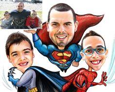 Family Caricature - SuperHero Theme - Fudgeface.me