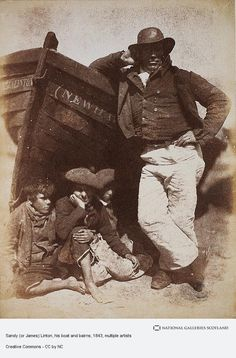 "David Octavius Hill and Robert Adamson, ""Sandy (or James) Linton, his boat and bairns"" (June calotype print (courtesy Scottish National Portrait Gallery) Vintage Photographs, Vintage Images, Vintage Men, Old Pictures, Old Photos, Modern Photographers, Newhaven, History Of Photography, Photography 2017"