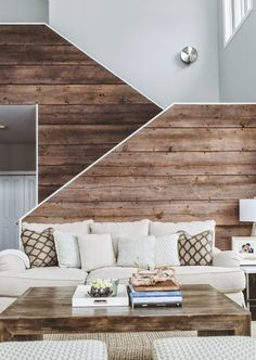 Design by Deluxe Design Studio / Photo by paper antler Contemporary design using reclaimed barn wood. Beautiful solution without using new wood from a clear-cut forest.