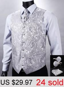 c516a096a Purple Blue Paisley Top Design Wedding Men 100% Silk Waistcoat Vest Pocket  Square Cufflinks Cravat Set for Suit Tuxedo