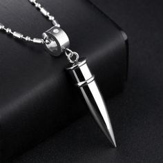 Unisex/'s Fashion Jewelry Silver Bullet Pendant Necklace With Chain For Mens