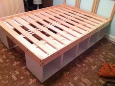 Ikea Storage Bed storage 2 shelves and 1 bed frame Ikea Hack Storage, Diy Storage Bed, Bed Frame With Storage, Diy Bed Frame, Extra Storage, Bed Frames, Pallet Storage, Ikea Shelves, Ikea Hacks