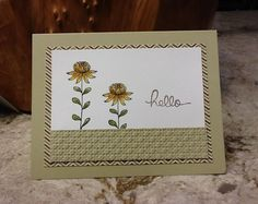 handmade greeting card ... Flowering Fields ... neutral sands ... clean lines ... luv the patterned paper used as the mat ... Stampin' Up!