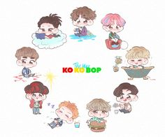 Exo Kokobop, Sehun And Luhan, Chanyeol, Exo Cartoon, Exo Stickers, 5 Years With Exo, Exo Anime, Ko Ko Bop, Exo Fan Art