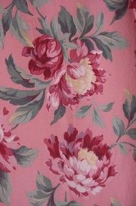 Vintage 1940s pink floral bark cloth curtain panels, peonies - pretty!