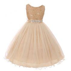 Little Girls Champagne Stretch Lace Glitter Stone Sash Flower Girl Dress 4-6