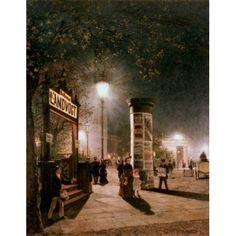 First Electric Street Light Berlin Carl Saltzmann (1847-1923 German) Canvas Art - Carl Saltzmann (18 x 24)