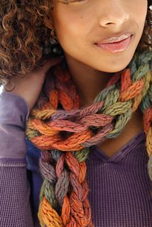 Knit this fun one hank scarf up in an hour - knit, purl and yo is all you have to know! (Berroco)