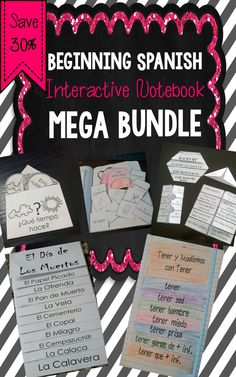 Huge bundle of products for Spanish Interactive Notebooks.