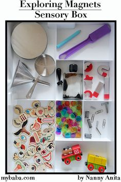 This exploring magnets sensory tray is great for children of all ages to explore the different properties of magnets and magnetism. Sensory Activities, Sensory Play, Educational Activities, Activities For Kids, Sensory Boxes, Magnetic Letters, Train Set, Exploring, Magnets