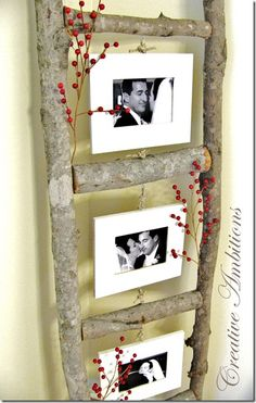 DIY Photo Ladder - made from tree branches Diy Photo, Cadre Photo Diy, Wood Photo, Diy Projects To Try, Garden Projects, Craft Projects, Garden Ideas, Craft Ideas, Easy Garden