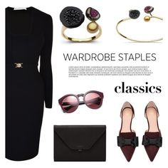 """Wardrobe Staples"" by littlehjewelry ❤ liked on Polyvore featuring Versace, Valextra, Marc Jacobs and vintage"