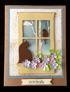 Memory Box Window, Cat, Flowers and Birch tree.