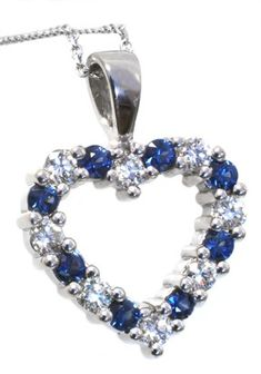 Diamond and sapphire pendant with 0.50carat total diamond weight and 2.5mm round sapphire in 14k white gold | #blue #mother'sday #Mom