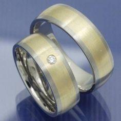 Gold und Steel Trauringe aus Edelstahl und 585 Gelbgold PB209769