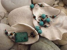 turquoise and tiger eye on silk cord