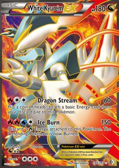 [R][C][C] Dragon Stream: 60 damage. Flip a coin. If heads, attach a basic Energy card from your discard pile to this Pokemon. [R][R][W][C] Ice Burn: 150 damage. Discard 2 [R] Energy attached to this Pokemon. The Defending Pokemon is now Burned. Carte Pokemon Mega, Pokemon Full Art, Black Pokemon, Pokemon Images, Cute Pokemon, Pokemon Go, Pokemon Dragon, Pokemon Tcg Cards, Cool Pokemon Cards