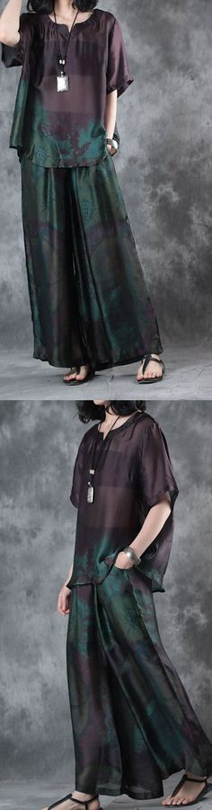 new summer dark purple vintage two pieces plus size pullover shits and wide leg pants skirt 2