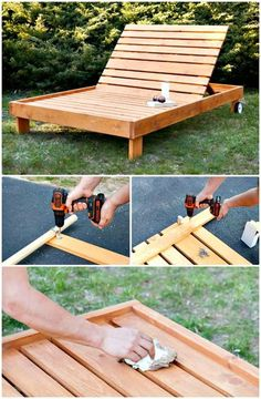 How to make the outdoor chaise lounge - 54 DIY garden furniture ideas to update . - How To Make The Outdoor Chaise Lounge – 54 DIY Garden Furniture Ideas To Update Your … - Pallet Exterior, Pallet Patio, Diy Patio, Backyard Patio, Outdoor Pallet, Pallet Wood, Backyard Ideas, Pallet Benches, Pallet Bar