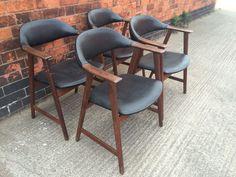 Set of 4 Retro Vintage Danish Modern Kai Kristiansen Teak Dining Chairs 1960s