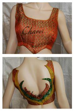 Patch work ready made blouse in burnt orange | Charvi Art Studio - woodbridge, NJ