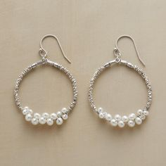 """PEARLY BUBBLES HOOPS--Hoops of tiny sterling silver beads are buoyed by freshwater cultured potato pearls in small and larger sizes. Sterling silver earwires. Exclusive. Approx. 2""""L."""
