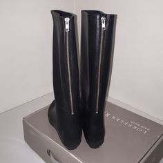 LOEFFLER RANDALL RAIN BOOTS barley used tall black rubber rain boots size 10 Loeffler Randall Shoes Winter & Rain Boots