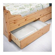 IKEA - HURDAL, Bed frame with 4 storage boxes, Luröy, , The 4 large drawers on castors give you an extra storage space under the bed.The solid pine shows off the attractive grains and beauty mark knots that give each unique piece its own naturally grown, individual personality.Made of solid wood, which is a hardwearing and warm natural material.Adjustable bed sides allow you to use mattresses of different thicknesses.16 slats of layer-glued birch adjust to your body weight and increase the…