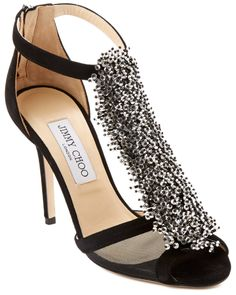 I'm so turned on by this Jimmy Choo Feline Beaded Suede Vamp and Mesh Sandal. Just hate the $999 price tag