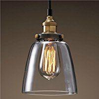 PureLume ampoule vintage antique hanging-croche suspension verre avec cloche en cuivre vieilli et rétro e27 40 w