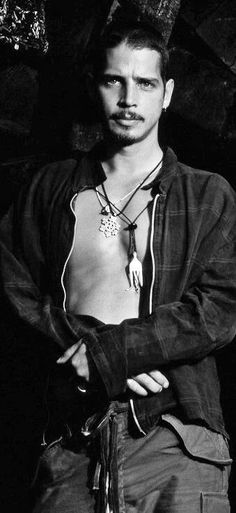 Chris Cornell...wearing the fork necklace from friend Shannon Hoon.