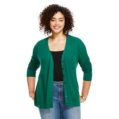 Ava & Button-up Cardigan Black/White - New England Green