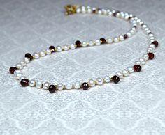 Delicate white freshwater pearl necklace Elegant garnet necklace Genuine gemstone briolette necklace January birthstone Office jewelry