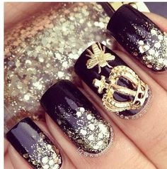 Black Gold Nails Nail Art Decorations Gold Hollow Out Crown With Cross Glitter Rhinestones Studs For Cha - Fabulous Nails, Gorgeous Nails, Amazing Nails, Perfect Nails, 3d Nail Art, Cool Nail Art, Crown Nails, Bee Nails, Artificial Nails