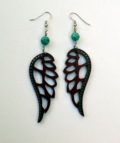 Laser cut Wood and Turquoise Earrings  Wichita Keeper by jleslietx, $22.00