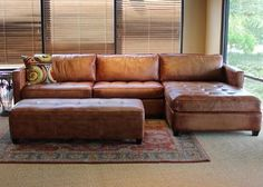 Phoenix 100% Full Aniline Leather Sectional Sofa with Chaise (Vintage Amaretto)