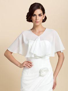 gasa de la manga corta ocasión especial chaqueta de noche / abrigo de la boda (más colores) encogiéndose de hombros bolero - EUR €10.44