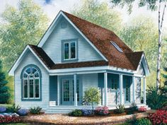 Plan 21492DR Country Cottage with Wrap Around Porch Tiny houses