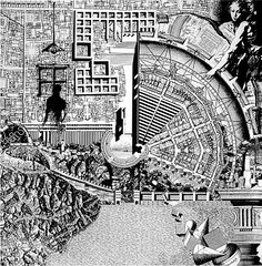 The Città Analoga (Analogical City) by Aldo Rossi in 1976 is collaborate collage, an idea of collective memory Collage Architecture, Architecture Drawings, Architecture Models, Architecture Diagrams, Architecture Portfolio, Rem Koolhaas, Aldo Rossi, Gravure Illustration, Postmodernism