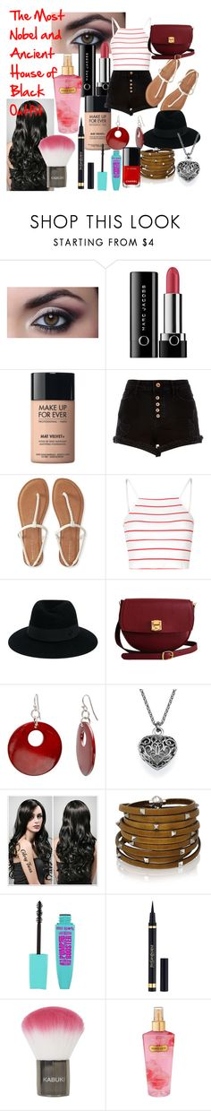 """The Most Nobel and Ancient House of Black Outfit"" by scarletrichards ❤ liked on Polyvore featuring Marc Jacobs, MAKE UP FOR EVER, River Island, Aéropostale, Glamorous, Maison Michel, The Code, Mixit, Sif Jakobs Jewellery and Yves Saint Laurent"